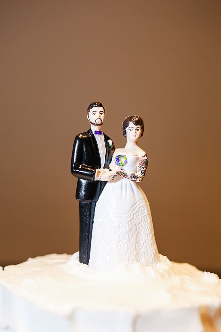 Vintage Style Tattooed Wedding Cake Topper