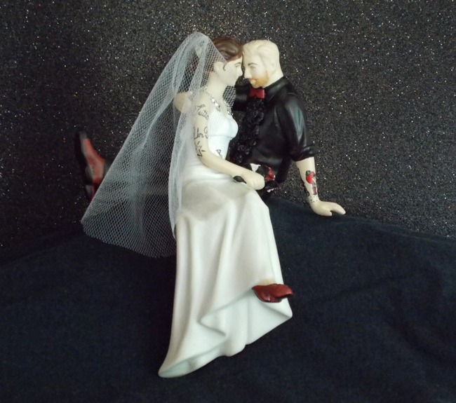 Tattooed Wedding Topper with Custom Shoes