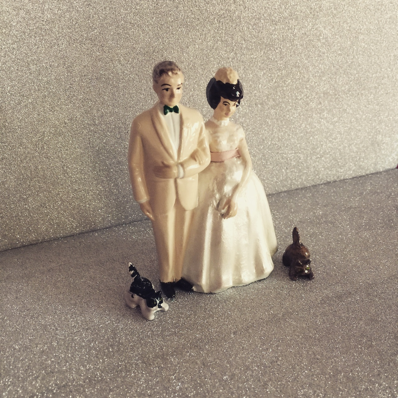 Custom Vintage Wedding Cake Topper with Cats