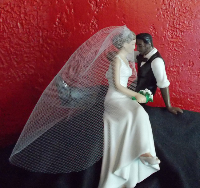 Interracial Tattooed Wedding Cake Topper