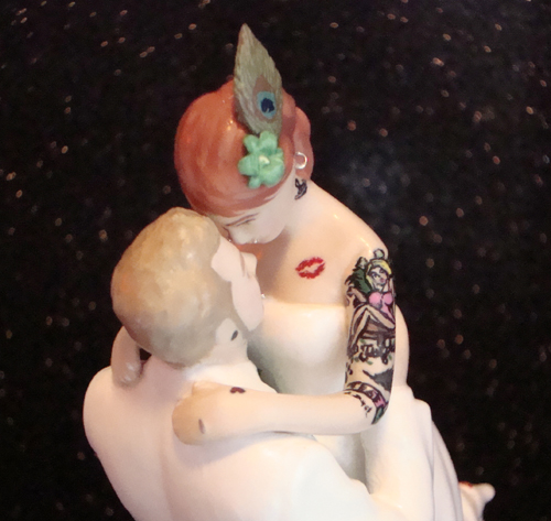 Tattooed Bride Wedding Cake Topper with Peacock Feather