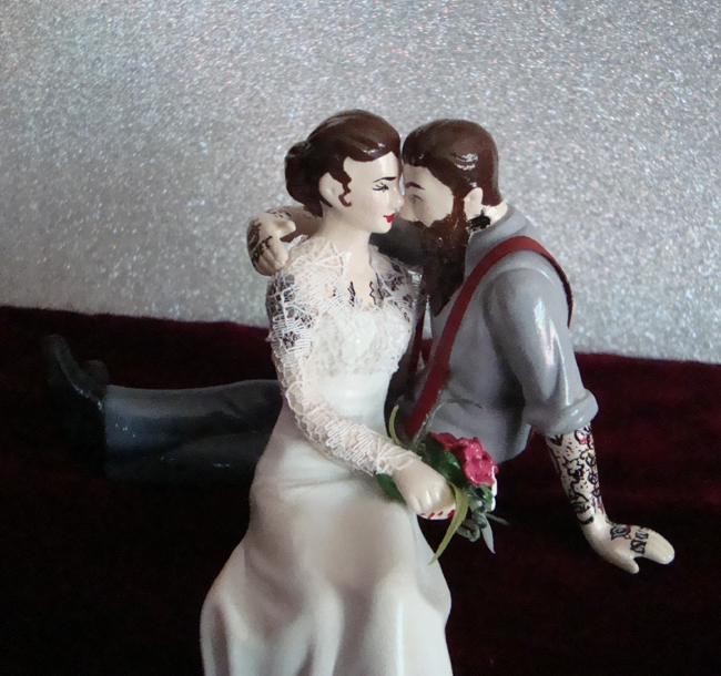 Tattooed Cake Topper with Lace & Suspenders