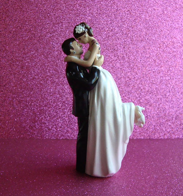 Tattooed Bride Cake Topper with Gauges