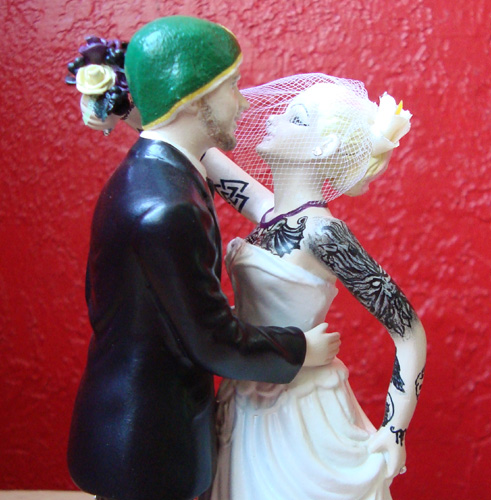 Tattooed Wedding Cake Topper with Hat