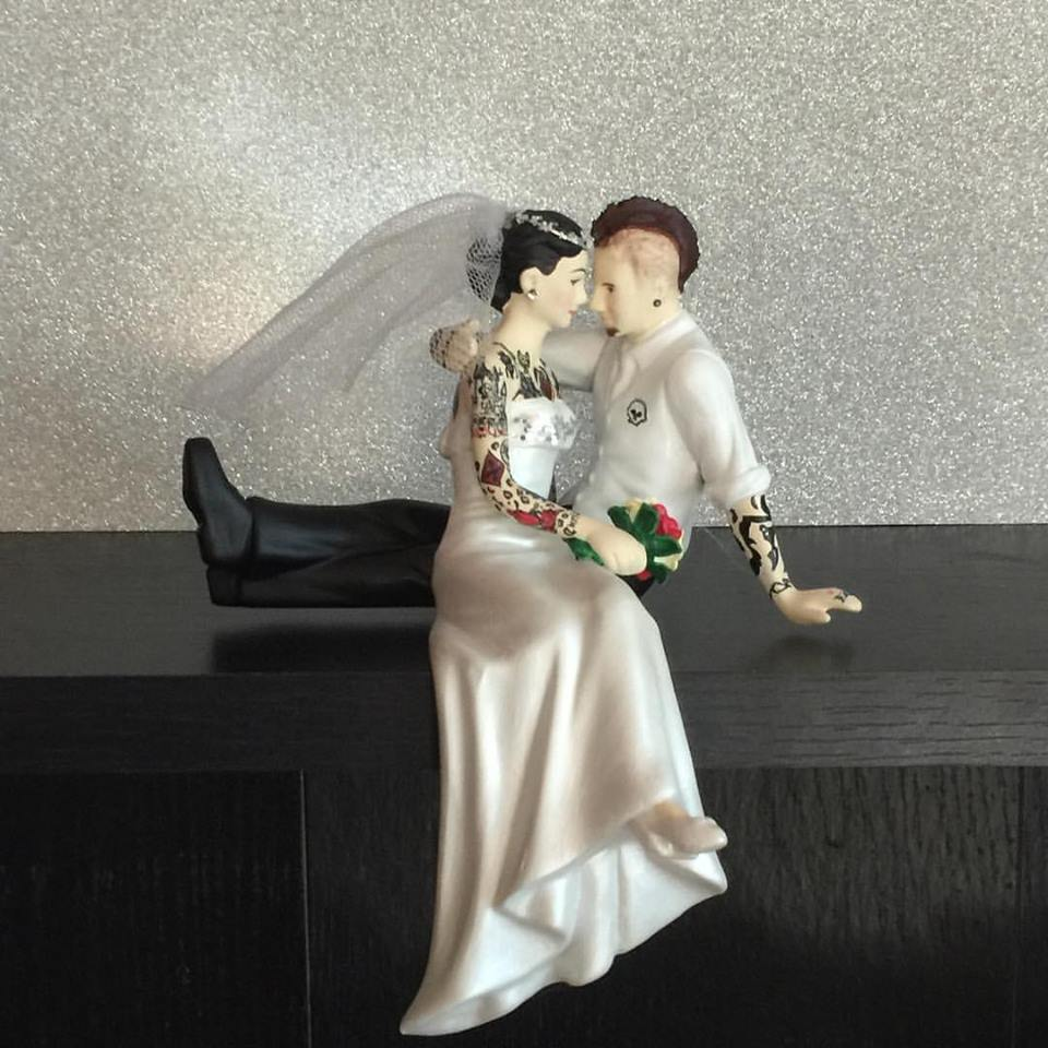 Tattooed Cake Topper with Mowhawk