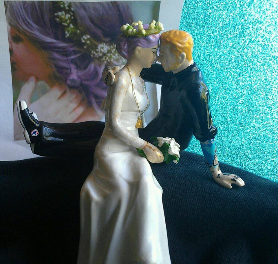 Custom Tattooed Wedding Topper with Lavender Hair
