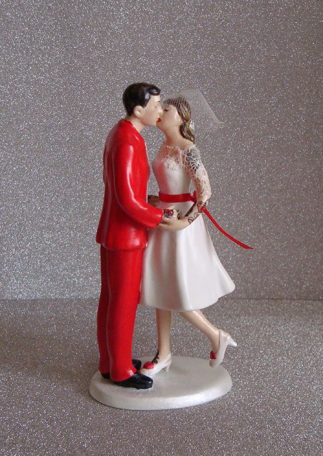 Custom Tattooed Wedding Topper with Red Tux
