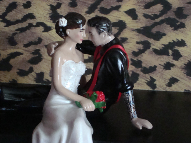 Tattooed Groom Cake Topper with Suspenders