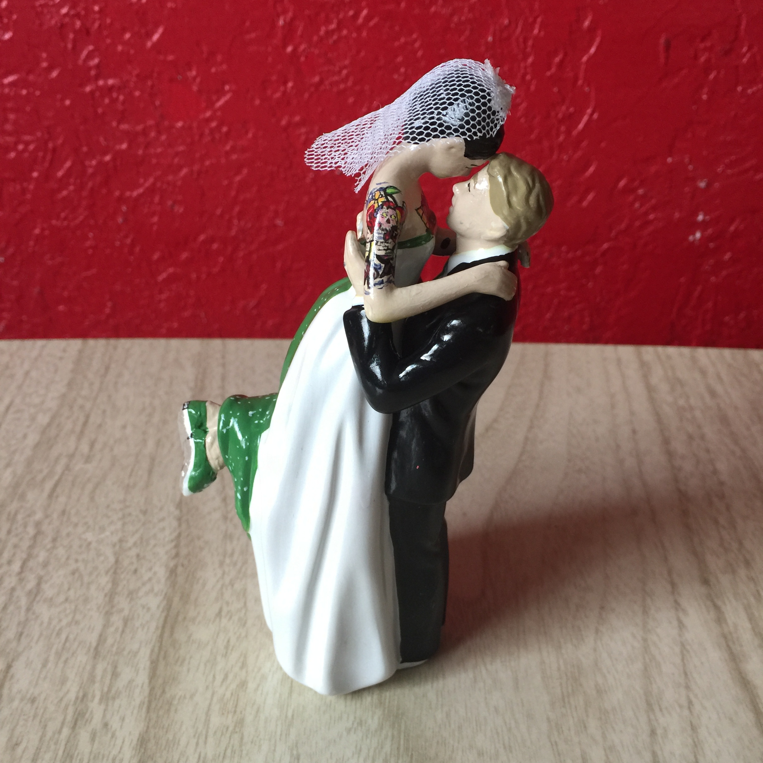 Tattooed Wedding Cake Topper with Converse