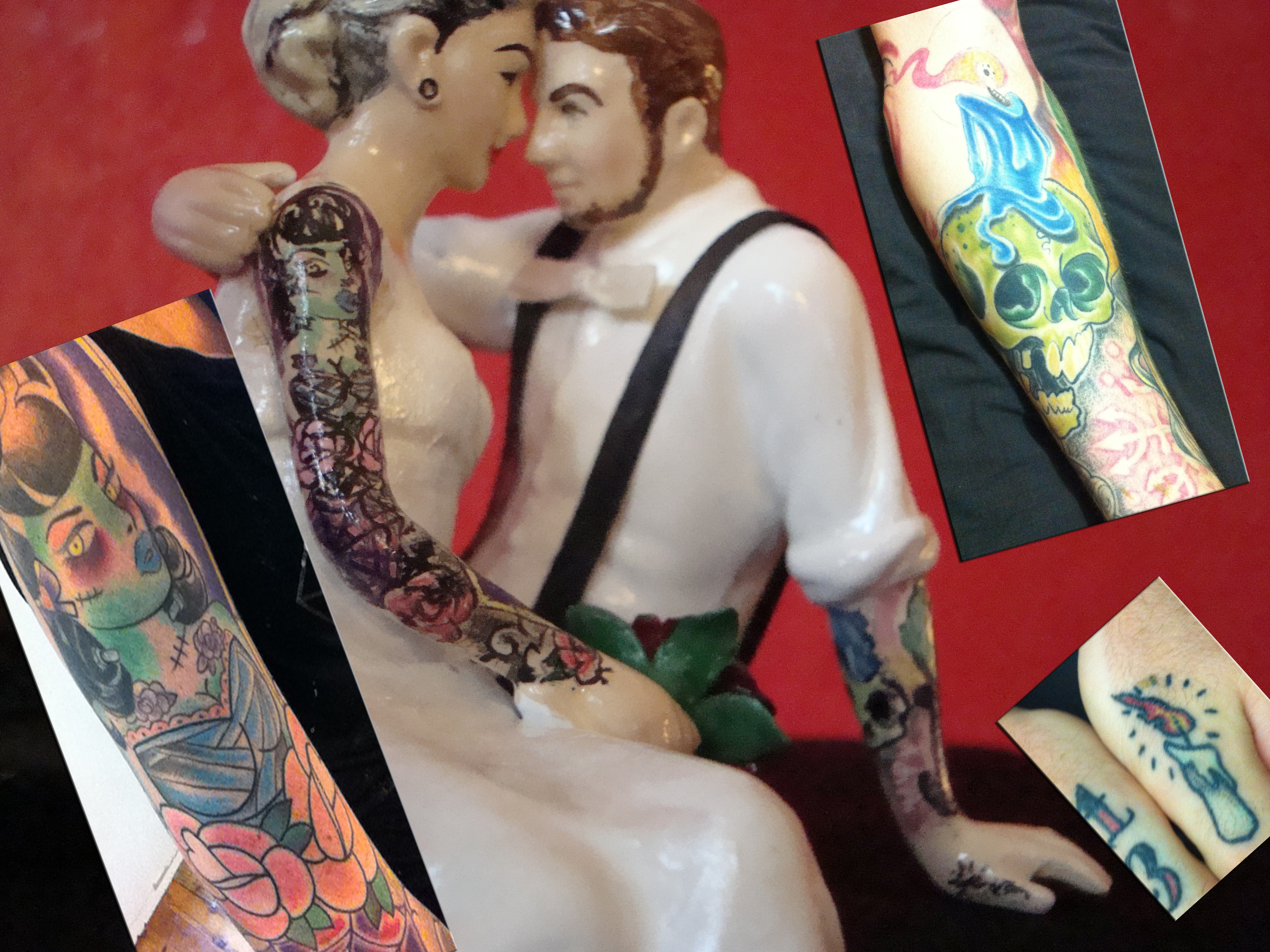 Tattooed Wedding Cake Topper with Headpiece