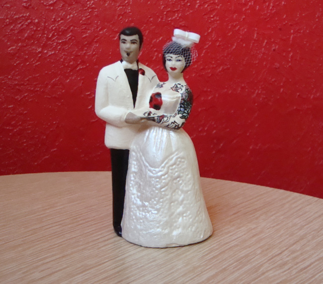 Tattooed Interracial Wedding Cake Topper