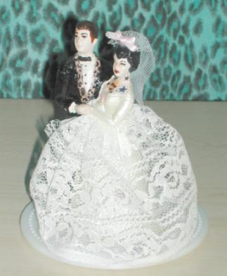 Vintage Tattooed Wedding Cake Topper